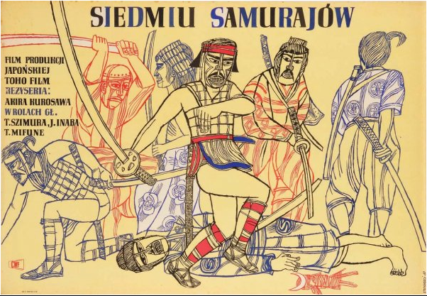 Poster for the first Polish release of Seven Samurai, 1954. Created by Marian Stachurski in a faux woodcut style.