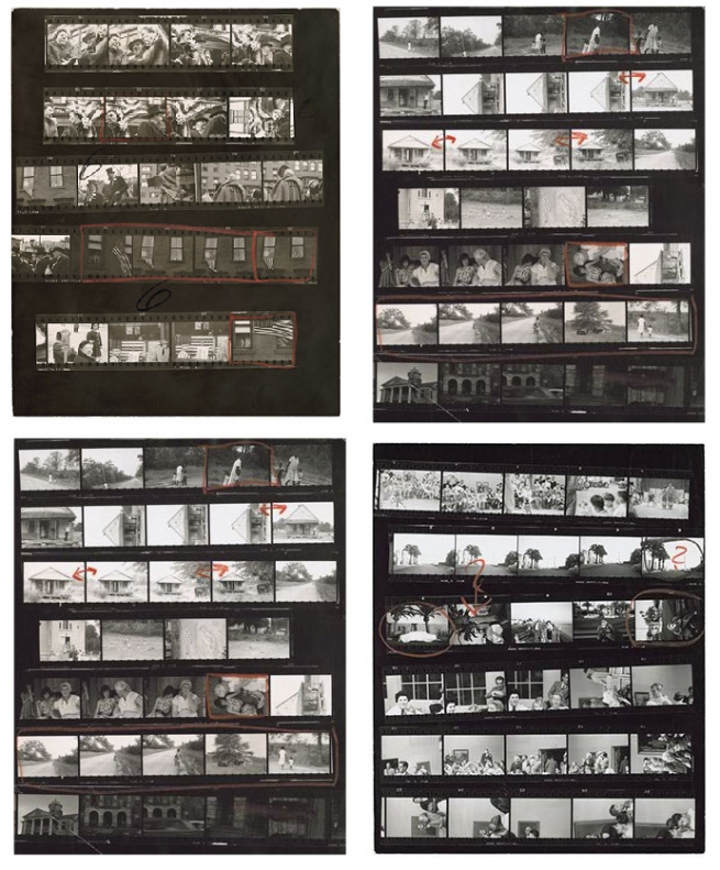"proof sheets from Robert Frank's ""The Americans: Looking In"""