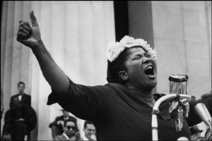 WASHINGTON, D.C.—At the Lincoln Memorial, a Pilgrimage for Freedom prayer session features singer Mahalia Jackson, 1957. © Henri Cartier-Bresson / Magnum Photos