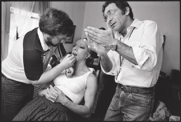 "Photos from Mary Ellen Mark's Seen Behind the Scene: Forty Years of Photographing on Set, published by Phaidon Press Dustin Hoffman in ""Tootsie"" in the dressing room"