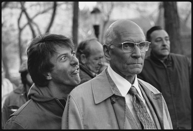 The levity of the photos belies the tension of the scene being shot, in which Babe (Hoffman) frog-marches Szell (Olivier) to the reservoir pump house in the film's climax. Mary Ellen Mark