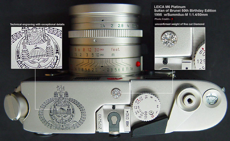 The top plate of the LEICA M6 Platinum Sultan of Brunei 50th Birthday Edition
