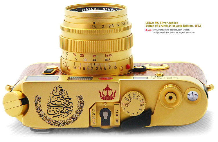 The top plate of this LEICA M6 Sultan of Brunei Silver Jubilee Edition