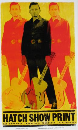 Johnny Cash - Triple Johnny. Hatch Show Print, Nashville