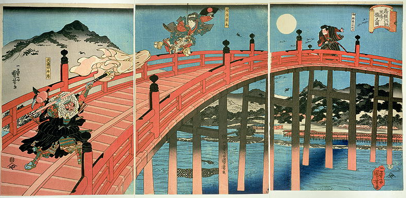Ushiwaka and Benkei fighting on Gojo bridge, published c.1839 by by Utagawa Kuniyoshi from the Arthur R. Miller Collection