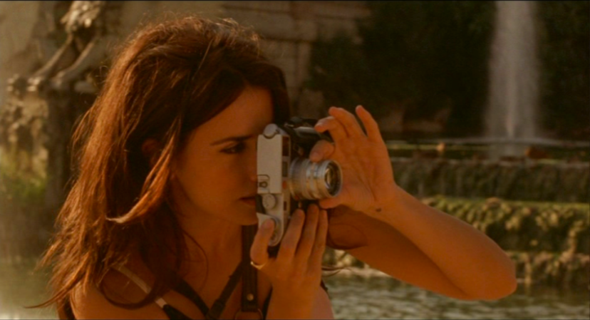 Penelope Cruz and a silver Leica M7, with a 35mm summilux; Vicky Cristina Barcelona, 2008, Woody Allen
