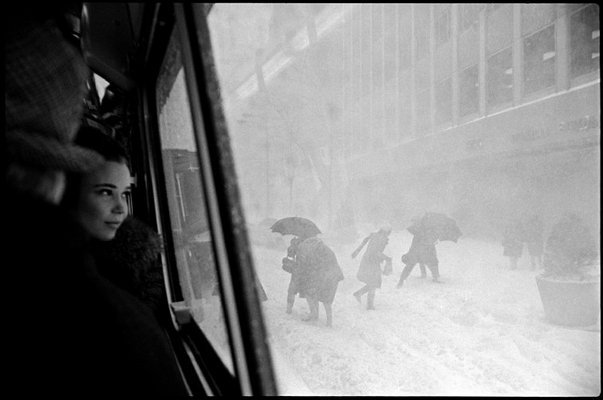 NEW YORK CITY—A girl looks out a bus window during a snowstorm, 1967. © Erich Hartmann / Magnum Photos