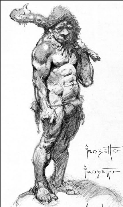 Caveman Sketch by Frank Frazetta