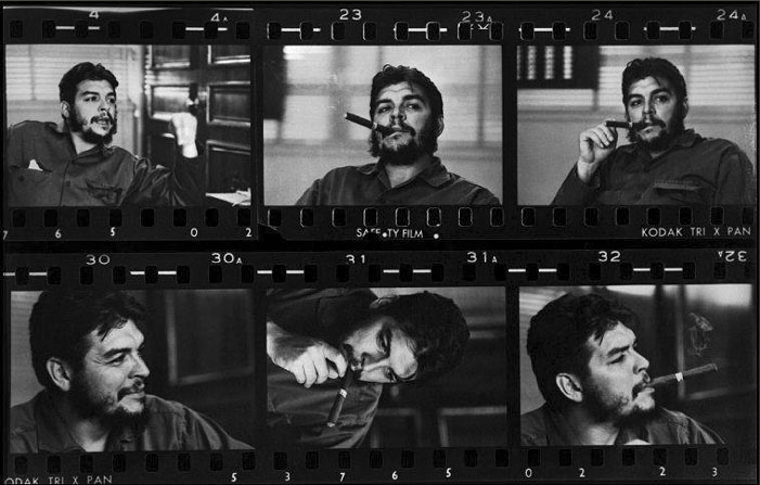 "Contact sheet snippet of Ernesto ""Che"" Guevara, 1963 © René Burri / MAGNUM PHOTOS"