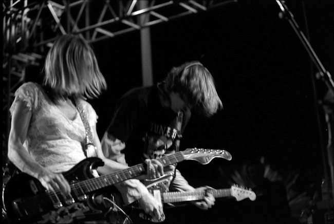 Kim Gordon, Thurston Moore, Sonic Youth, Sunset Junction 2002 © Doug Kim; Nikon F5, Nikkor 80-20mm, Kodak Tri-X