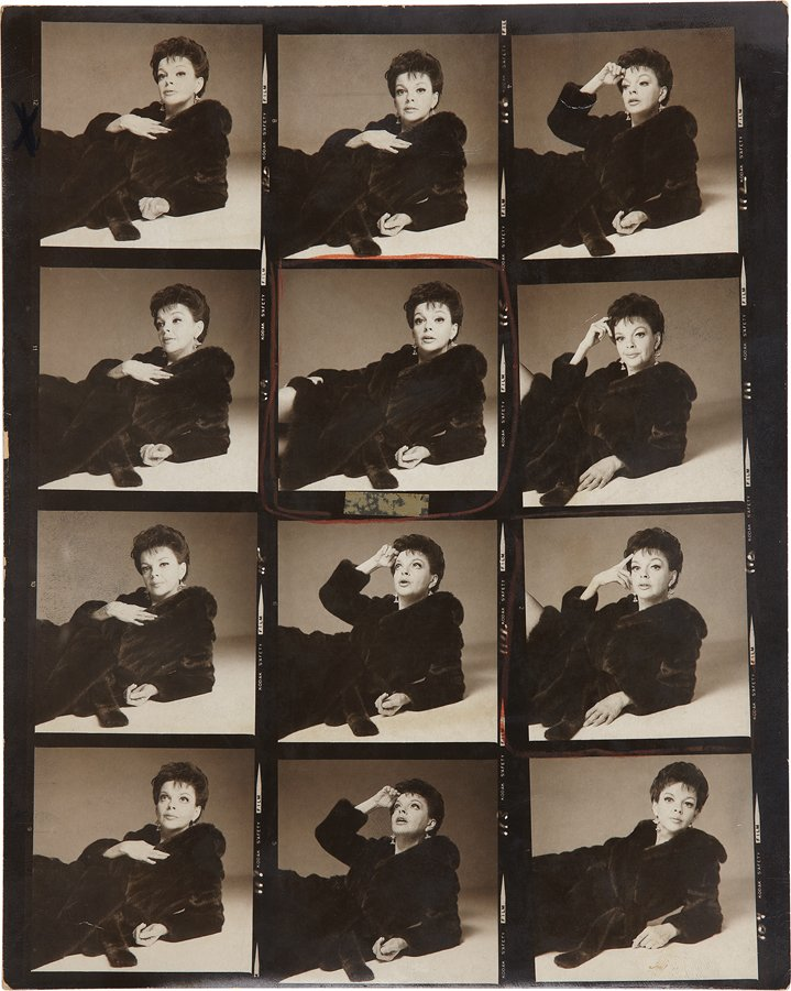 Proof Sheet of Judy Garland © Richard Avedon