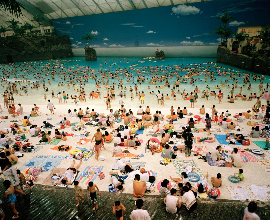 The Artificial beach inside the Ocean Dome, Miyazaki, Japan, 1996 © Martin Parr