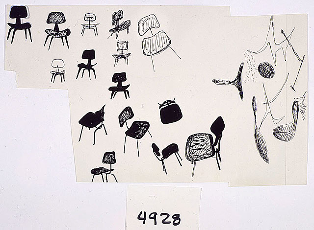 Drawing of Molded Plywood Chairs by Ray Eames